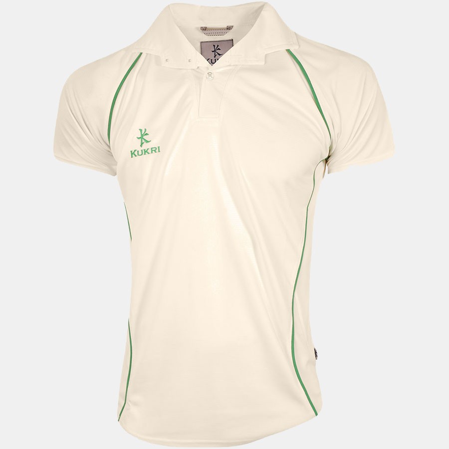 Cricket t shirt white - Cricket Jersey Off White Emerald